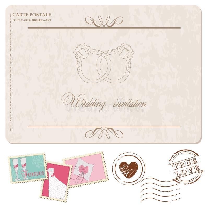 Retro bröllopinbjudanvykort, med stämplar stock illustrationer