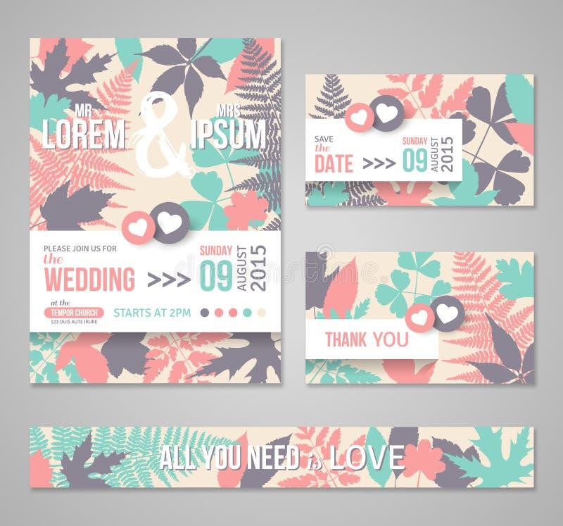 Retro bröllopinbjudningar med skogsidor royaltyfri illustrationer