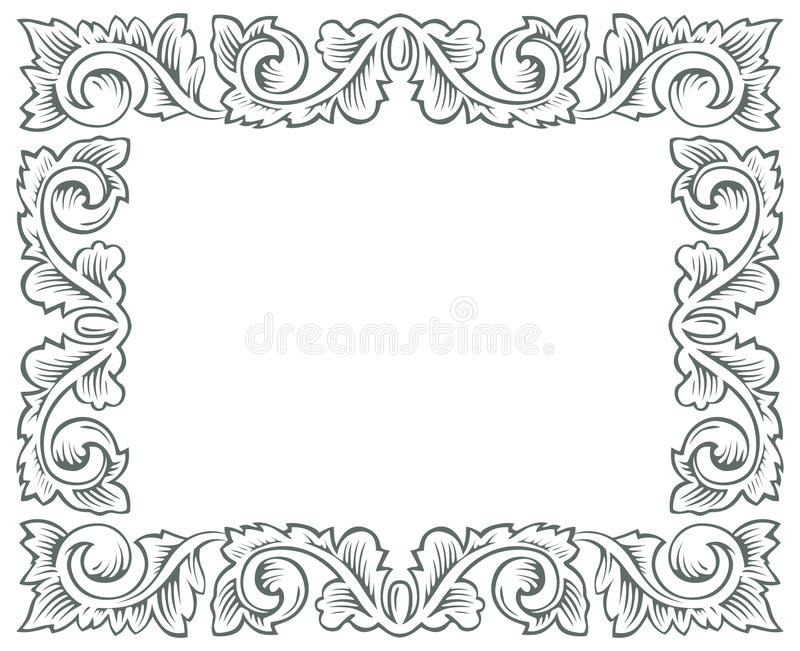 Retro branch engrawing border. Retro style of branch engrawing border royalty free illustration