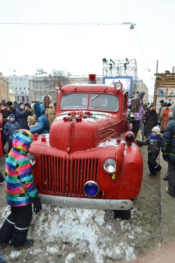 Retro brandvrachtwagen.   stock afbeeldingen