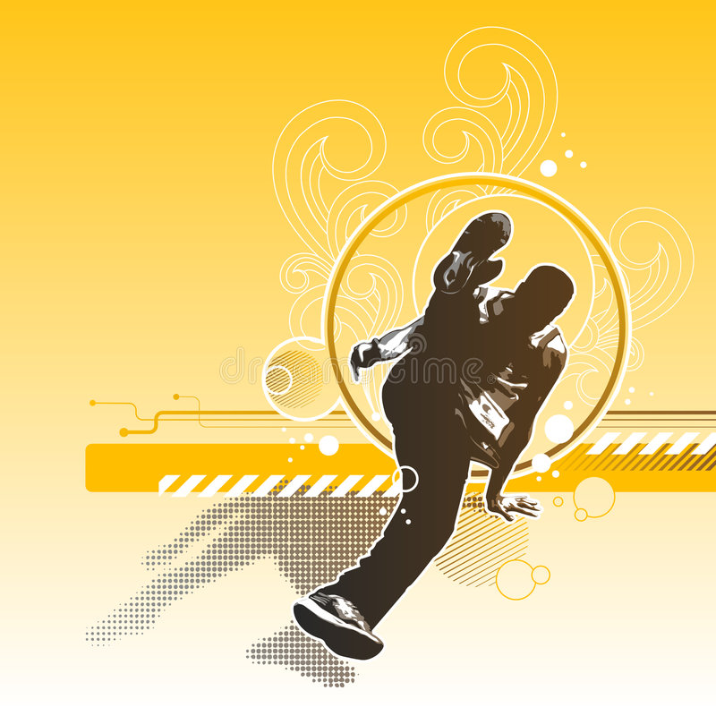 Retro breakdance royalty-vrije illustratie