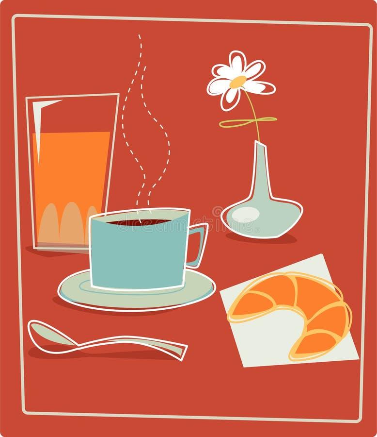 Retro Breakfast. Breakfast set with orange juice, coffee and croissant stock illustration