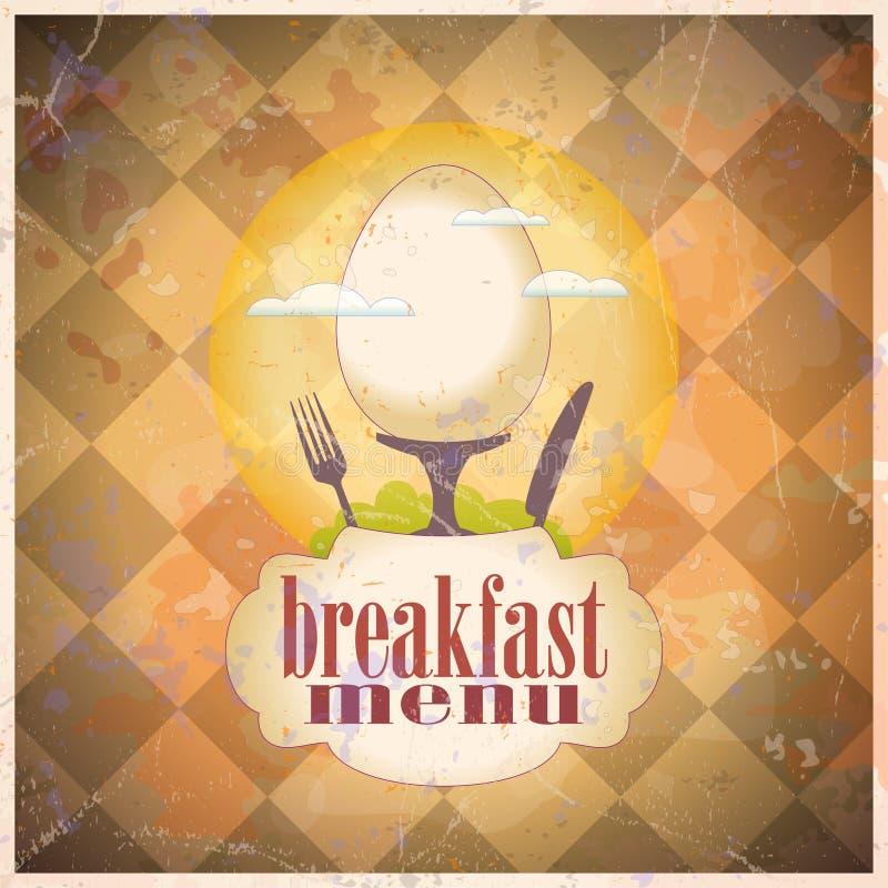Retro breakfast menu card design. vector illustration