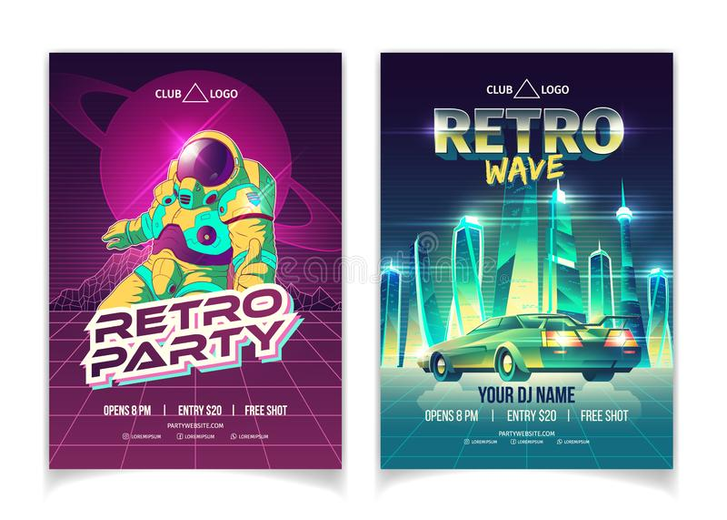 Retro broschyr för vektor för tecknad film för musikklubbaparti royaltyfri illustrationer