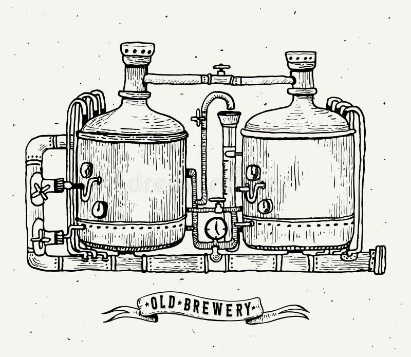 Retro brouwerijgravure Kopertanks en vaten in brouwerijbier Lokale brouwerij Uitstekende vectorgravureillustratie vector illustratie