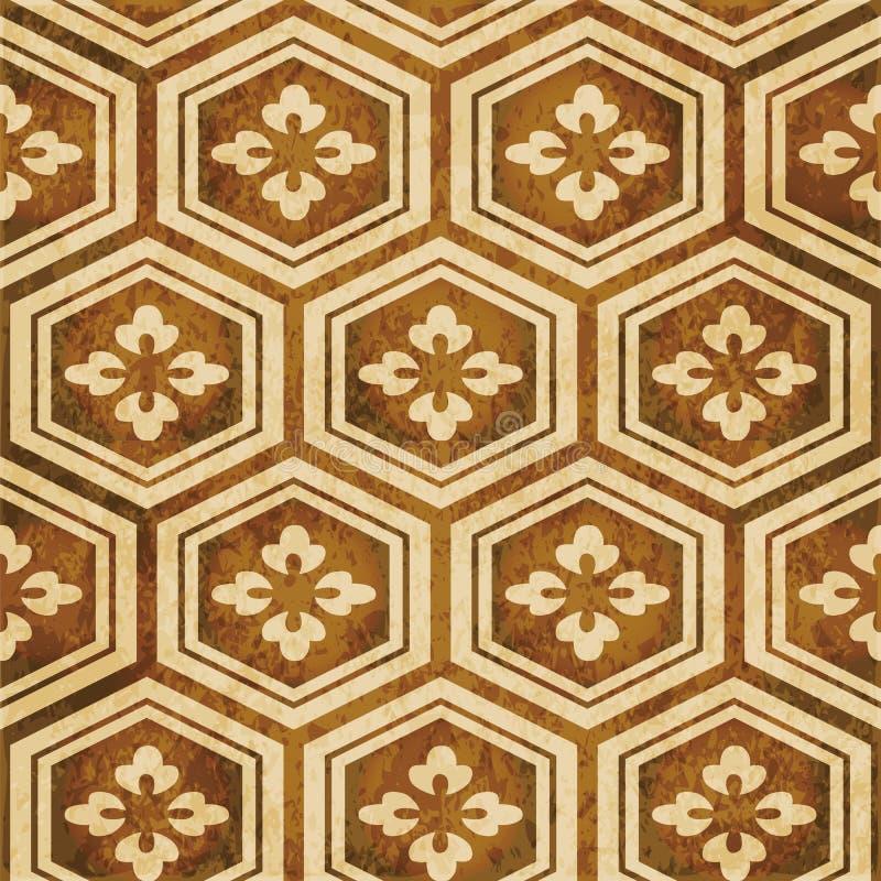Retro brown akwareli tekstury grunge tła bezszwowy polygo royalty ilustracja