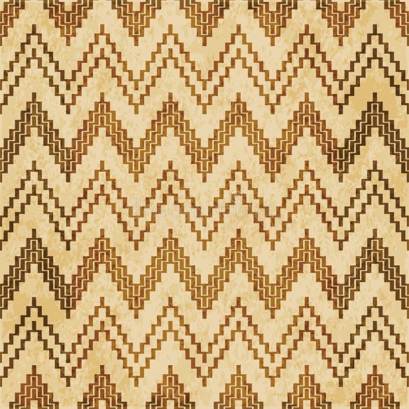 Retro brown cork texture grunge seamless background Sawtooth Lad. Der Geometry Triangle Cross vector illustration