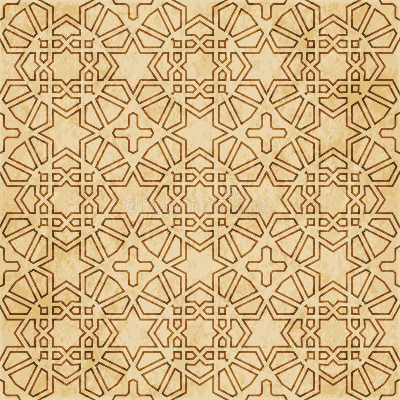 Download Retro Brown Islam Geometrii Wzoru Bezszwowego Tła Wschodni Stylowy Ornament Ilustracja Wektor - Ilustracja złożonej z brąz, linia: 106902993