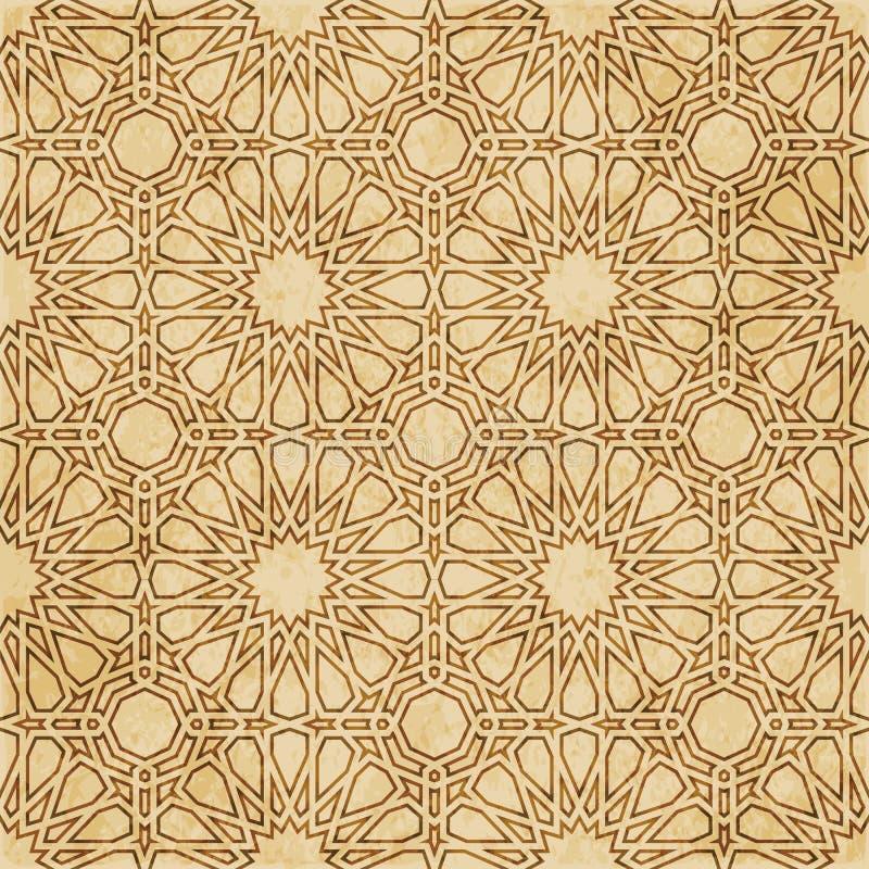 Download Retro Brown Islam Geometrii Wzoru Bezszwowego Tła Wschodni Stylowy Ornament Ilustracja Wektor - Ilustracja złożonej z grunge, linia: 106904495