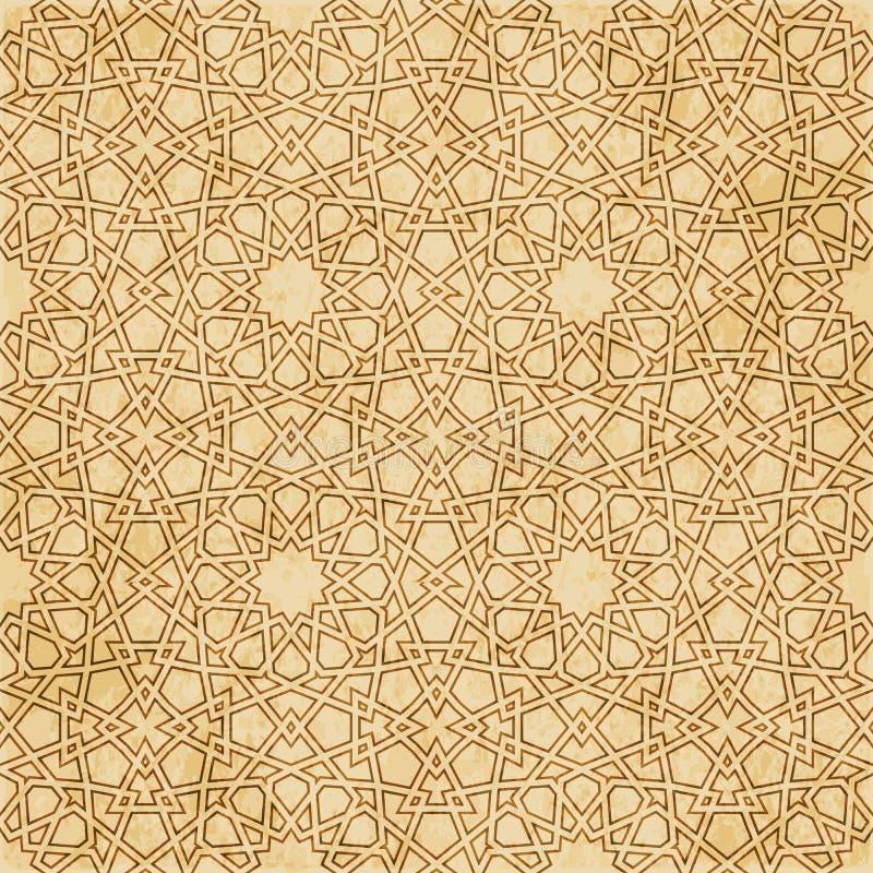 Download Retro Brown Islam Geometrii Wzoru Bezszwowego Tła Wschodni Stylowy Ornament Ilustracja Wektor - Ilustracja złożonej z pergamin, tło: 106904659