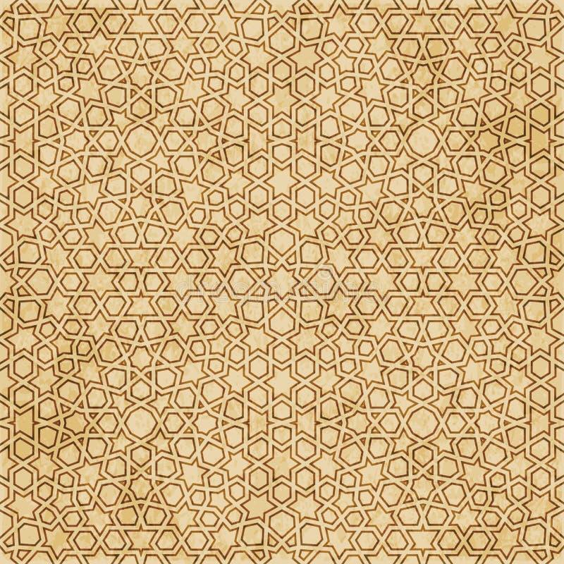 Download Retro Brown Islam Geometrii Wzoru Bezszwowego Tła Wschodni Stylowy Ornament Ilustracja Wektor - Ilustracja złożonej z aged, krzywa: 106905105