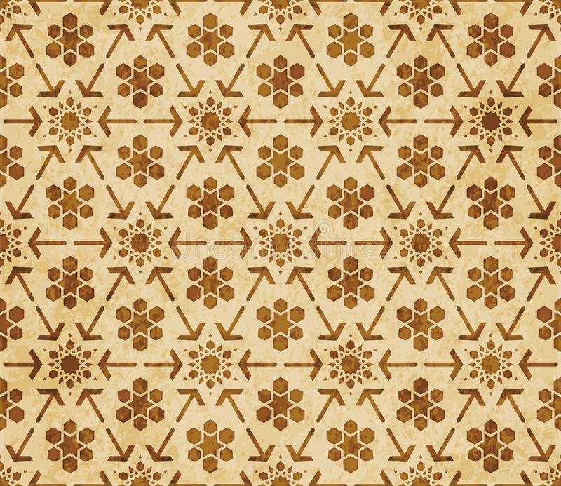 Retro brown Islam seamless geometry pattern background eastern style ornament. A Retro brown Islam seamless geometry pattern background eastern style ornament vector illustration