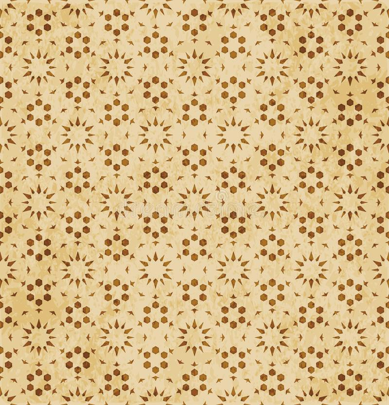 Retro brown Islam seamless geometry pattern background eastern style ornament. A Retro brown Islam seamless geometry pattern background eastern style ornament royalty free illustration