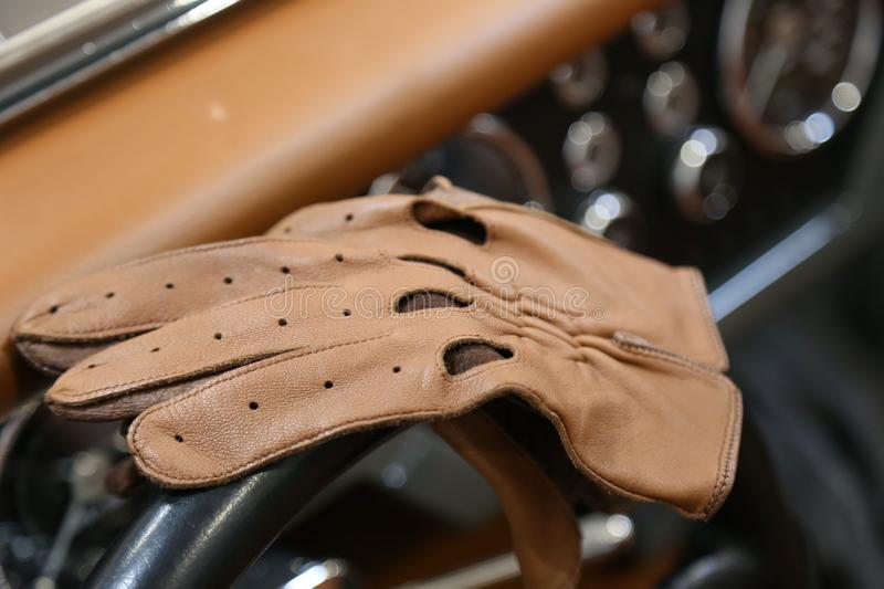 Retro leather driving gloves stock images