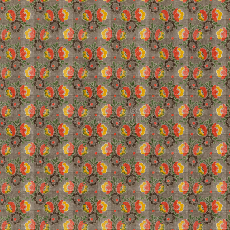 Retro Brown Red Yellow Repeat Wallpaper Pattern. Retro brown, red, yellow Floral Repeat Wallpaper Pattern background that is seamless royalty free stock photos