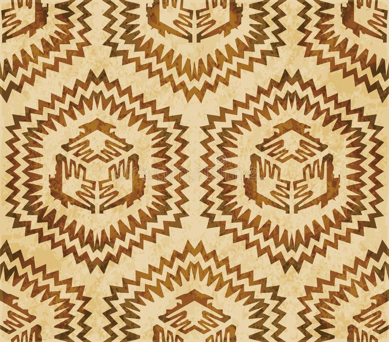Retro brown watercolor texture grunge seamless background sawtooth side polygon geometry vector illustration