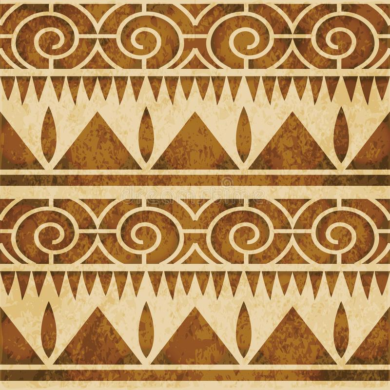 Retro brown watercolor texture grunge seamless background triangle sawtooth spiral round line royalty free illustration