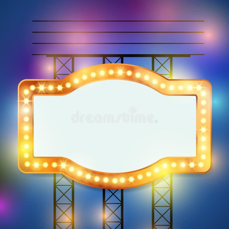Retro bulb circus cinema light sign template. Vector illustration vector illustration