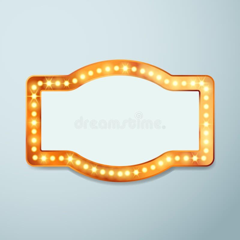 Retro bulb circus cinema light sign template. Vintage old frame theater casino or circus illuminated banner. Vector illustration stock illustration
