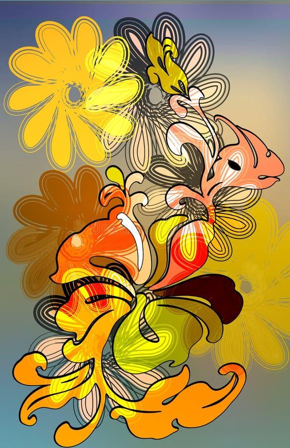 Retro burnout hibiscus stock illustration