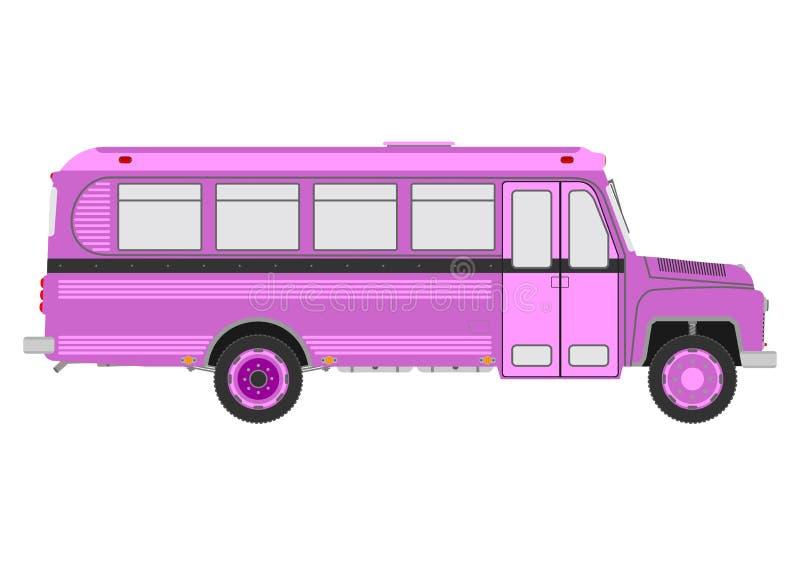 Retro- Bus auf einem weißen Hintergrund stock abbildung