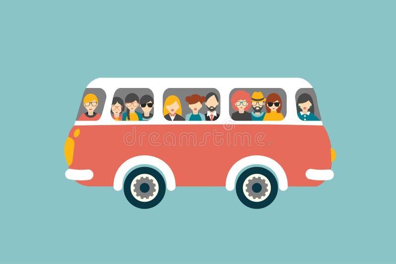 Retro bus met passagiers stock illustratie