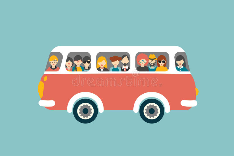 Retro bus with passengers. Flat vector concept stock illustration