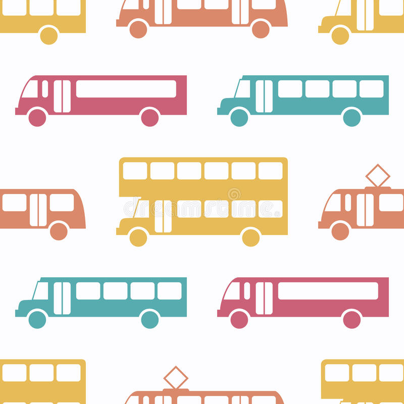 Retro bus seamless pattern. Vector illustration for transport design. Bright vehicle pattern. Bus wallpaper background. Cartoon silhouette shape royalty free illustration