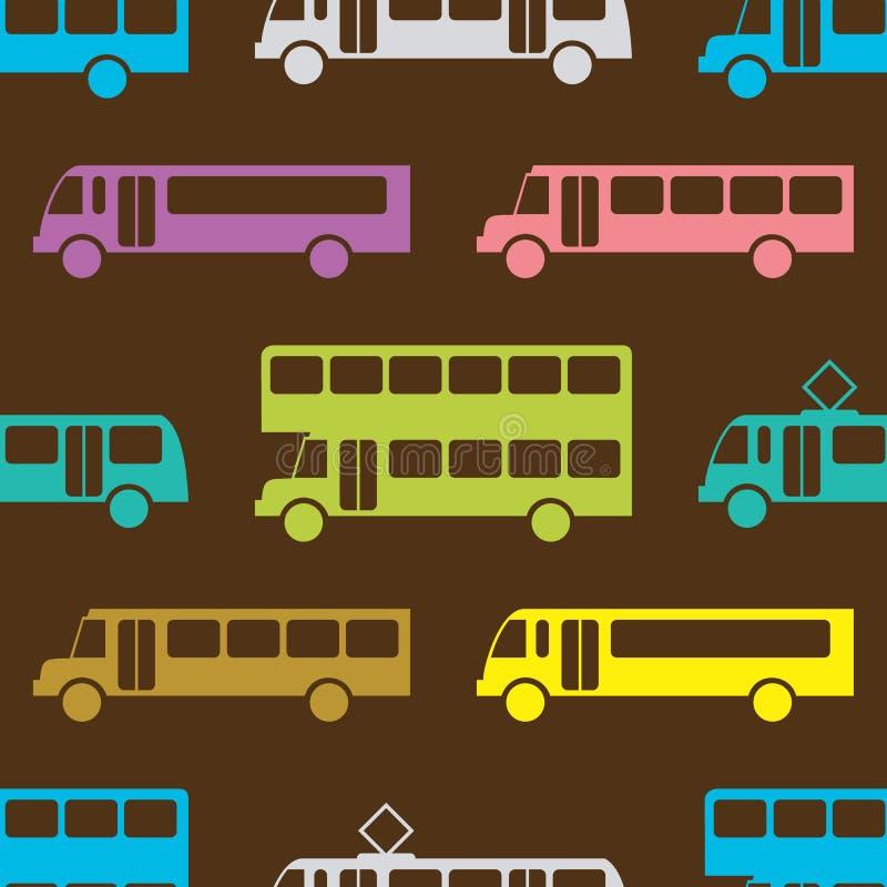 Retro bus seamless pattern. Vector illustration for transport design. Bright vehicle pattern. Bus wallpaper background. Cartoon silhouette shape stock illustration