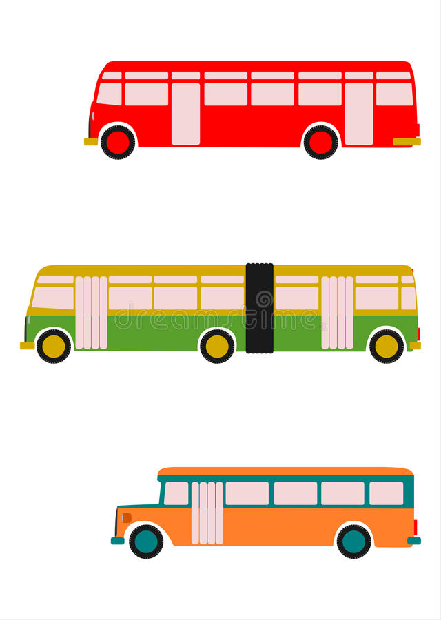 Download Retro bus set. stock vector. Image of camper, distance - 29695957