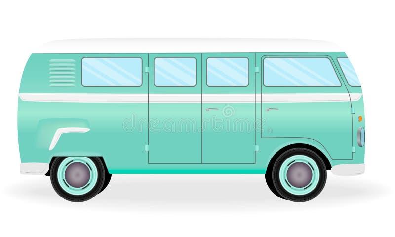 Retro bus variopinto di viaggio Furgone di hippy del fumetto isolato su un fondo bianco Veicolo dell'annata di vacanza illustrazione vettoriale