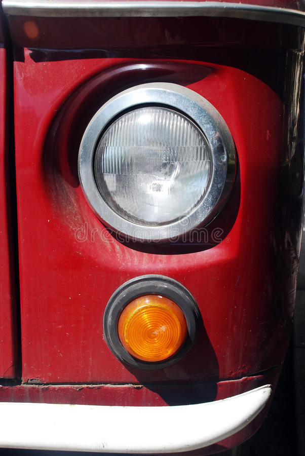 Retro bus vintage headlight royalty free stock photo