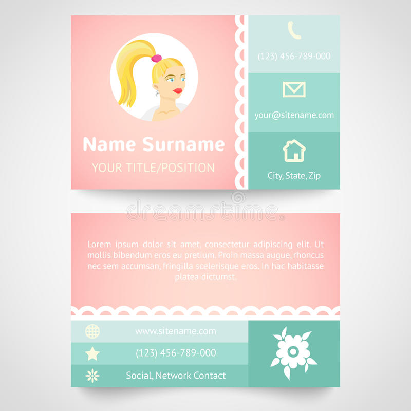 Retro business card (set template) with flat user vector illustration