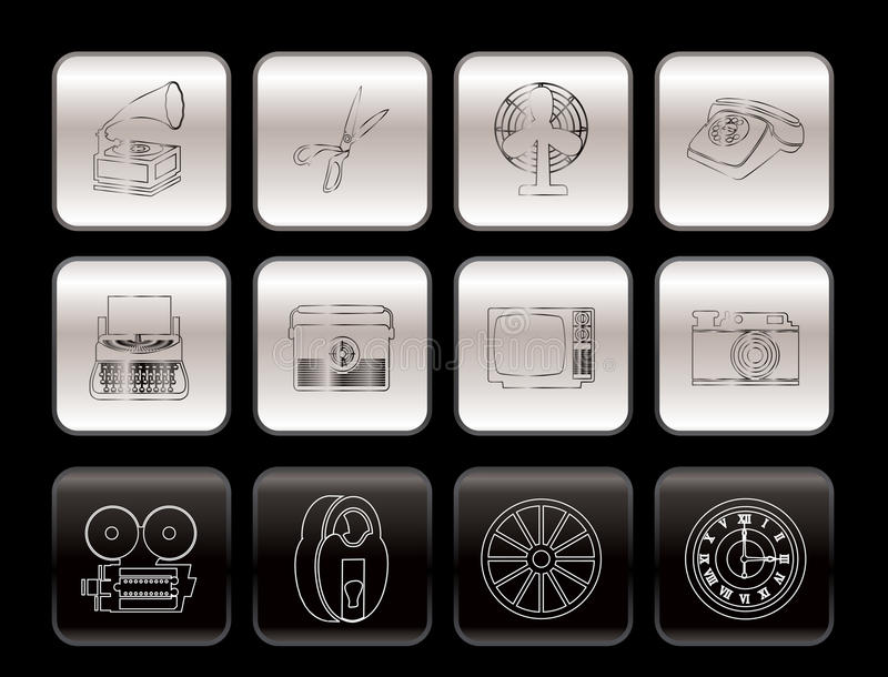 Retro Business And Office Object Icons Royalty Free Stock Photos