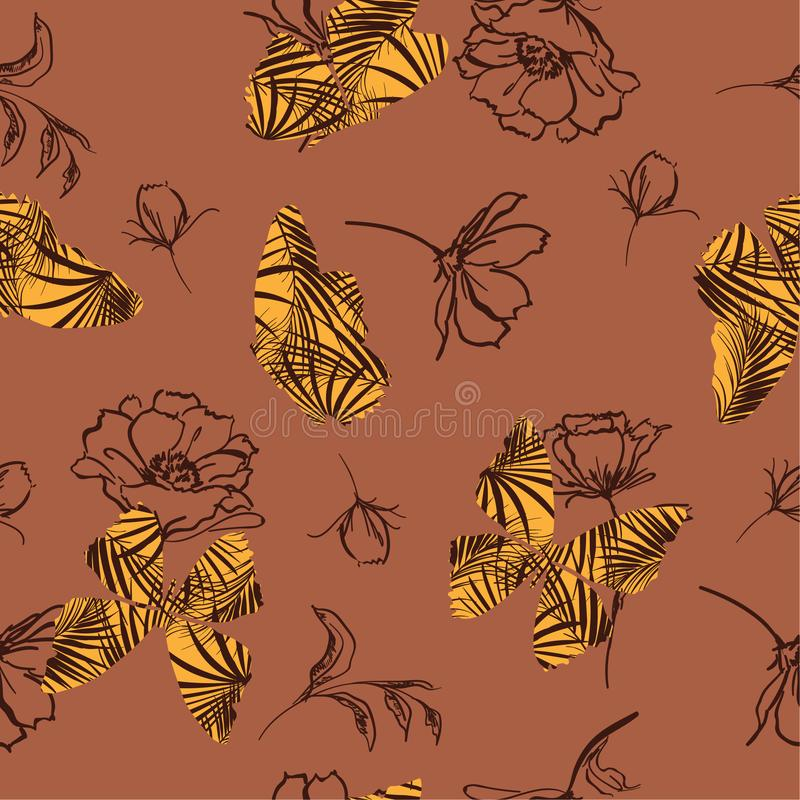 Retro Butterfly fill-in tropical pattern flying on hand sketch d. Oodle flower and leaves seamless vector design for fashion, fabric, wallpaper, and all prints stock illustration
