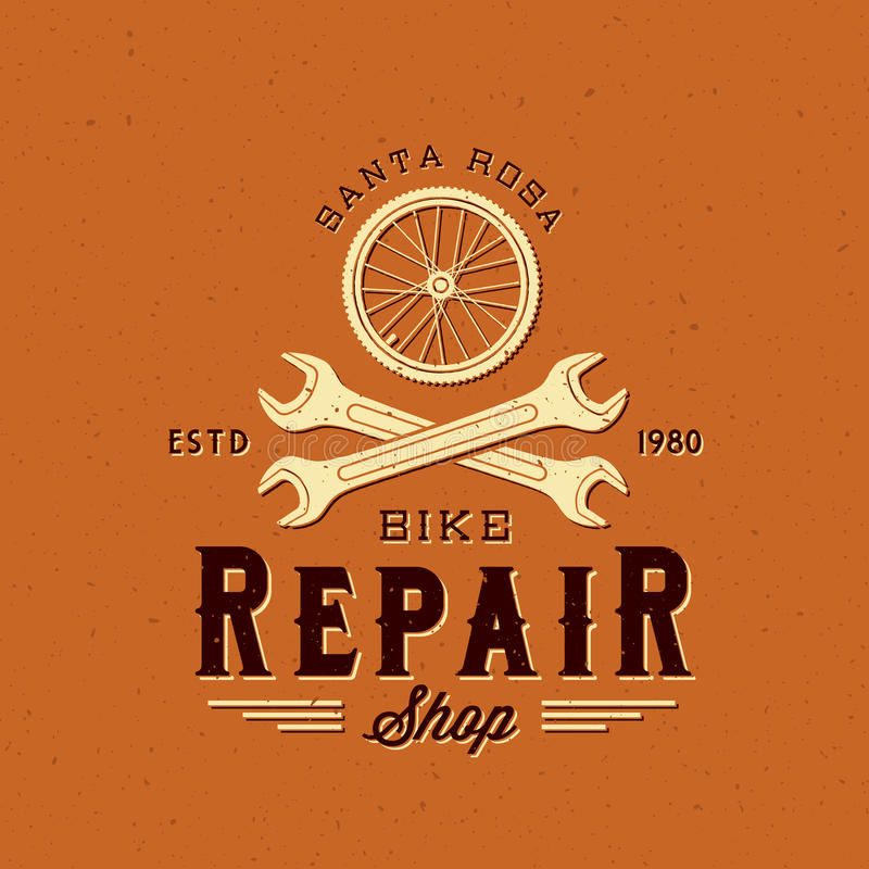 Retro Bycicle Repair Vector Label or Logo Template vector illustration