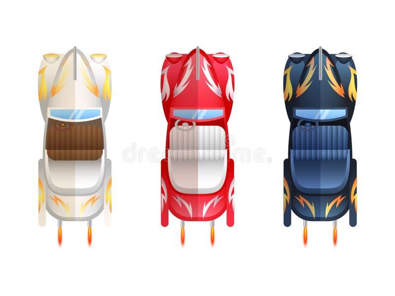 Retro Cabrioletöverkant för plana bilar stock illustrationer