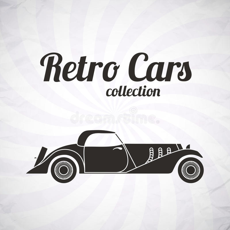 Cars Collector Garages: Retro Cabriolet Sport Car, Vintage Collection Royalty Free