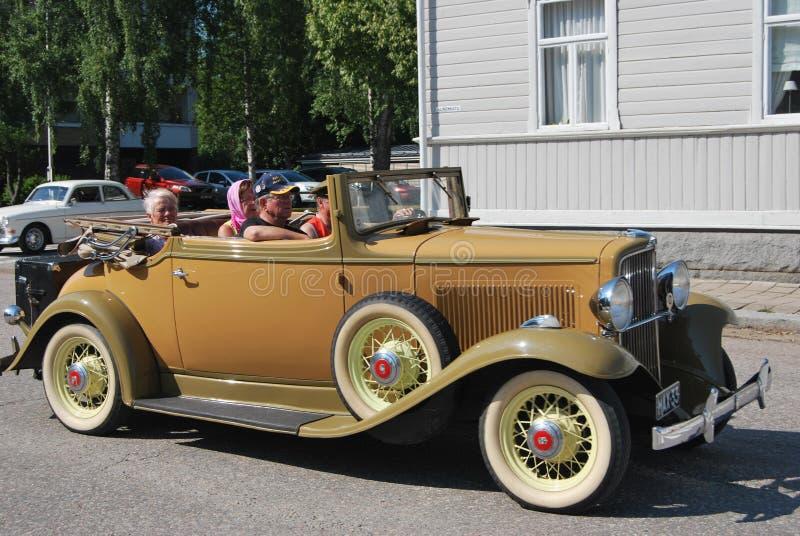 Retro Cabriolet. Uusikaupunki, Finland - August, 9, 2014: Well restored Nash club cabriolet stock photography