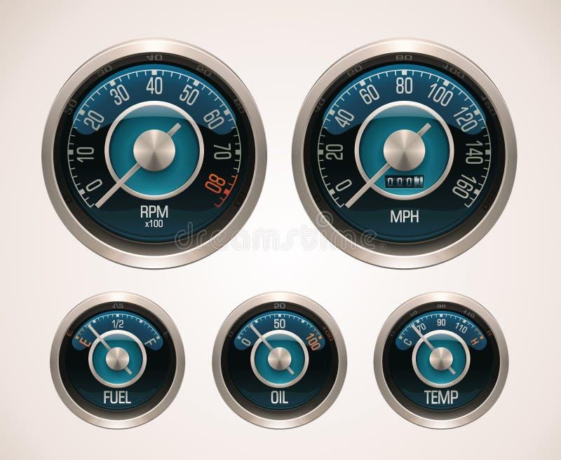 Retro calibri di automobile di vettore illustrazione di stock