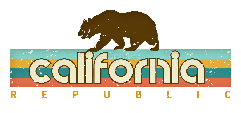 Retro California tshirt design art flag bear stock illustration
