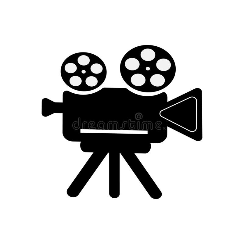 Retro camcorder icon on white isolated background. Vector symbol of a movie, video. An element for your design. stock illustration