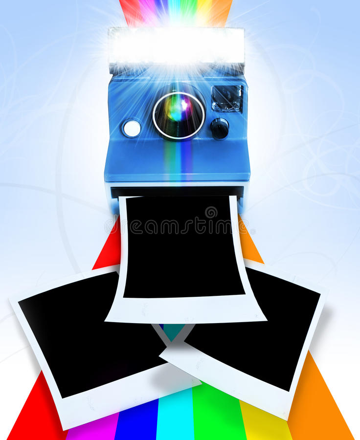 Retro camera. A retro blue instant polaroid camera with film images coming out of the camera stock images