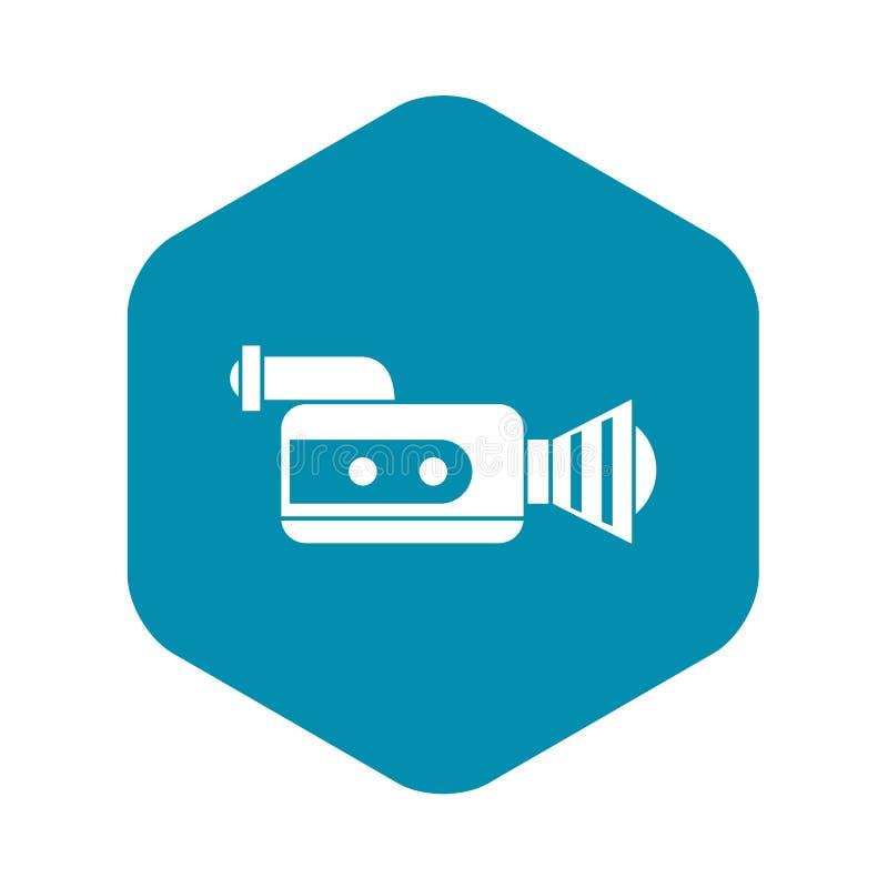 Retro camera icon, simple style vector illustration
