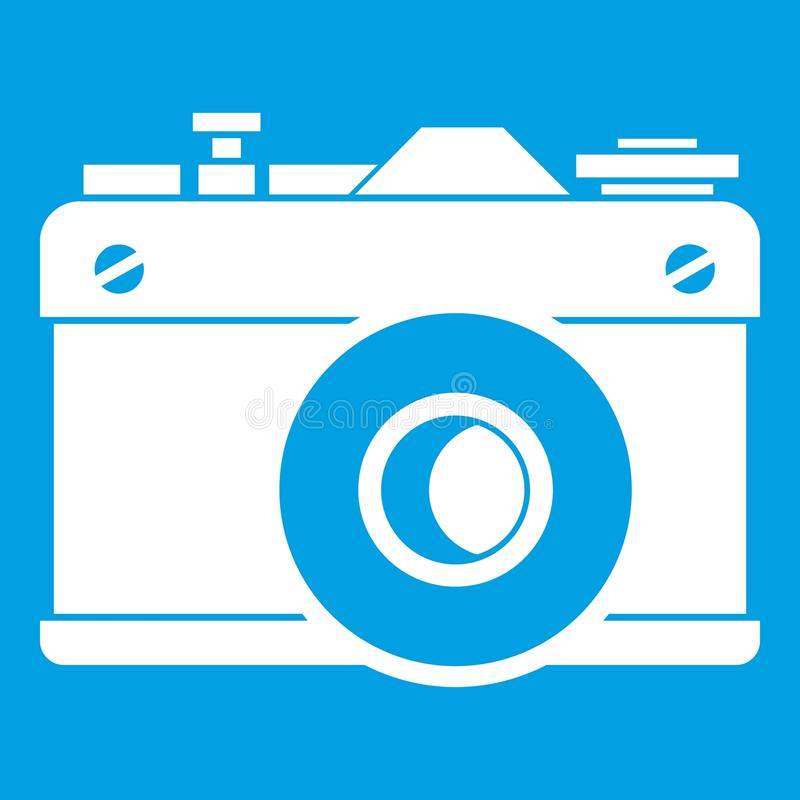 Retro camera icon white. Isolated on blue background vector illustration royalty free illustration