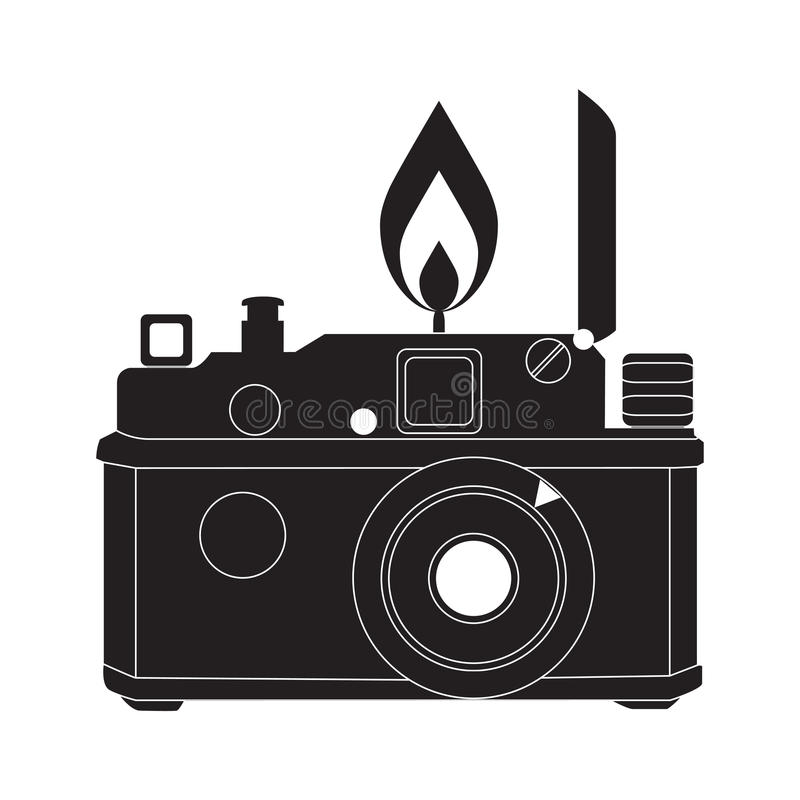 Free Retro Camera In Black And White Vector Royalty Free Stock Image - 38464696