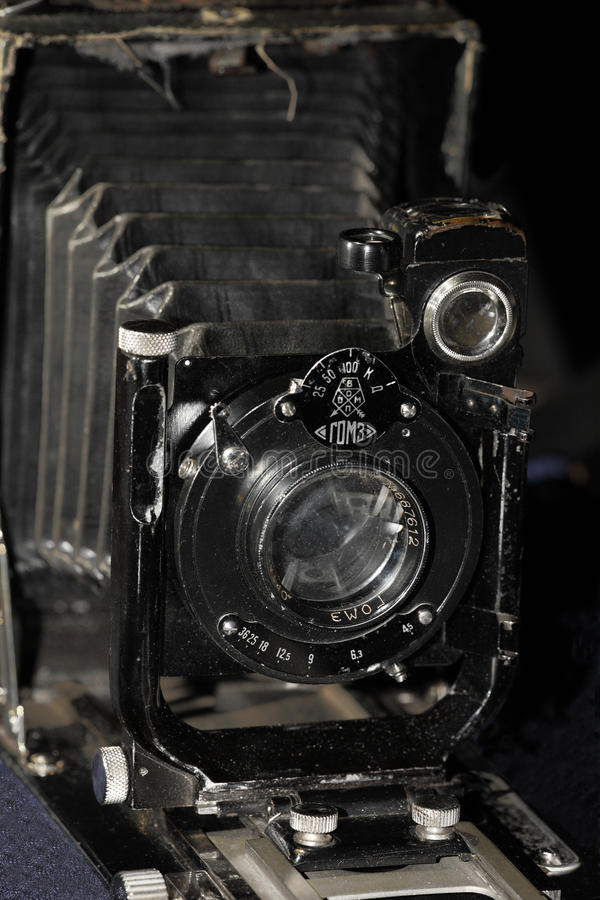 Retro camera Large format black background stock photos