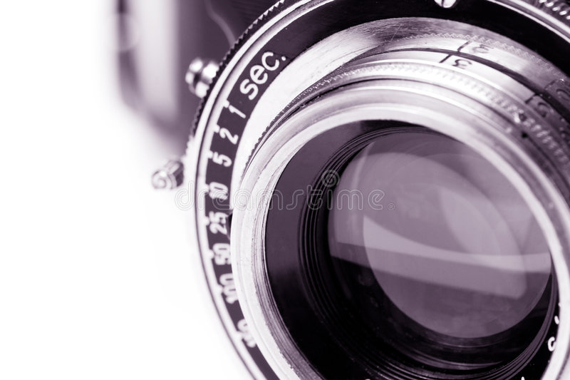 Retro camera lens stock photography