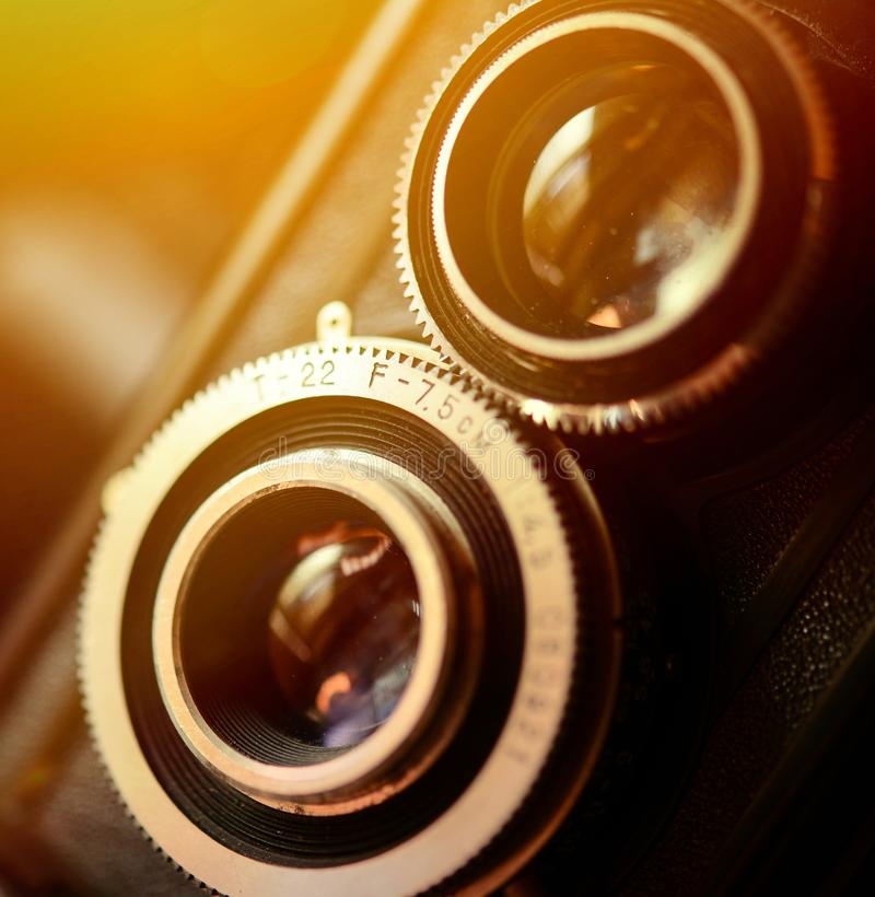A retro camera lens macro shot with shallow DOF stock image