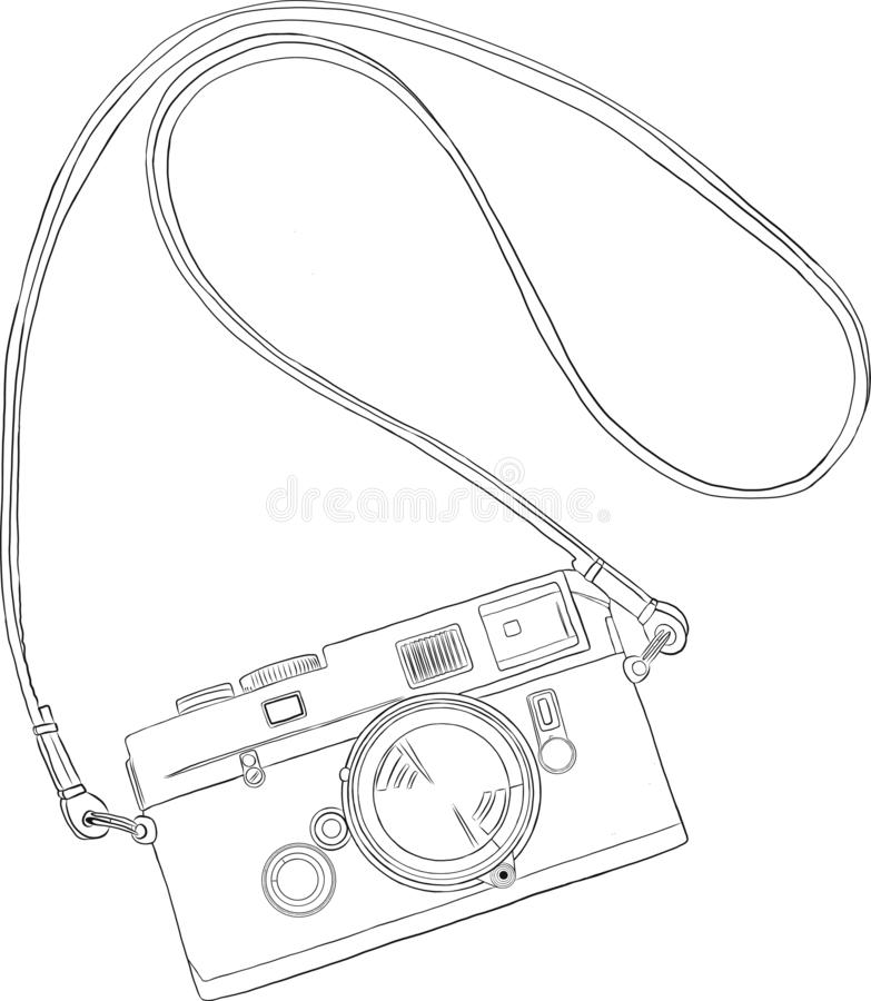 Retro camera in a sketch style. royalty free illustration